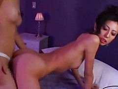 Skinny asian girl with tiny tits fucked with strapon on the