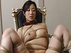 Extreme bondage and dildo fuck for an Asian babe