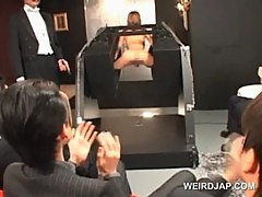 Asian sex slave cunt fucked hard in a weird sex show