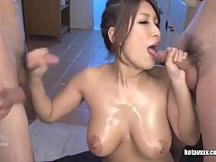 Busty Yume Mizuki sucks off a gang of guys and swallows cum