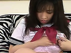 Student from asian touching her clit