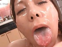 Asian slut getting hardcore bukkaked on knees