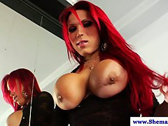 Busty big cock tranny Erika Schinaider jerks off