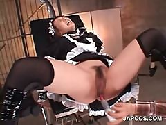 Bitchy asian maiden gets cunt and ass vibed