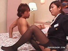 Japanese office babe taking hard dick in hotel room