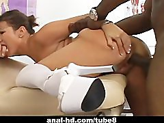 Big tits Asian enjoying some interracial action