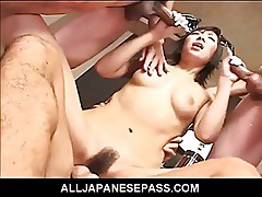 Cute Japanese latex bat attacks horny guys and finds all her