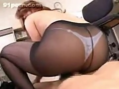 Japanese black stocking footjob 19
