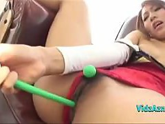 Asian Girl In Acrobat Dress Masturbating With Toys In The Sitting Roo