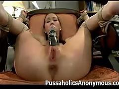 Amai Liu dominated by a giant dildo