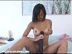 Asian amateur with a brutal dildo