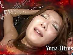 Redhead Asian chick Yuna Hirose gagging a throbbing cock and