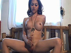Gorgeous Shemale Masturbating