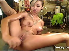 super hot emo asian with tattoos masturbating wildly
