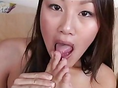 Hot asian sweetheart Evelyn Lin gets her filthy feet jizzed after a nice blow