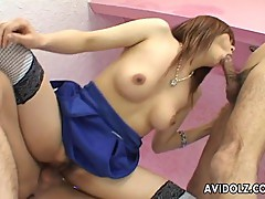 Asian hottie gives blowjob and gets creampie
