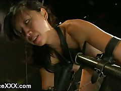 Bound Asian babe tits weighted and machine fucked