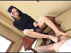 Japanese Toes makes him Gush Cum