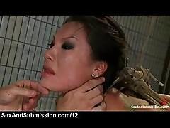 Rope bondage asian mouth fucked