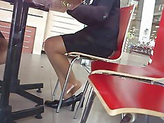 Candid Asian Nylon Shoeplay Feet Legs in Cafe