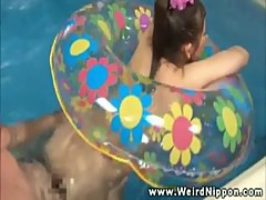 Asian babe getting pussy pounded in pool and loves it
