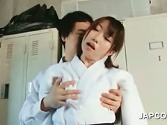 Asian shy girl seduced by horny teacher in the locker room