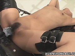 Mosaic: Asian babe bond and fuckd by a fucking machine