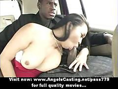Amazing asian babe does blowjob for black guy in the car and at home