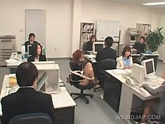 Appealing asian office babe gets sexually teased at work