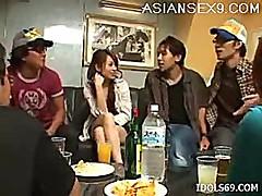 Hikaru Houzuki Asian Slut Gets Drunk And Masturbates Shaved Pussy At A Party
