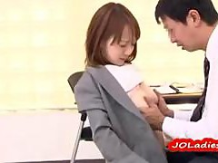 Office Lady Giving Blowjob Getting Her Tits Fucked In The Office